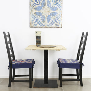 NAVY AND CRIMSON IKAT DINING CHAIR COVER - Lemiché