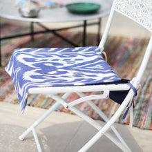 Load image into Gallery viewer, Blue and white Uzbekistan cotton ikat seat cover
