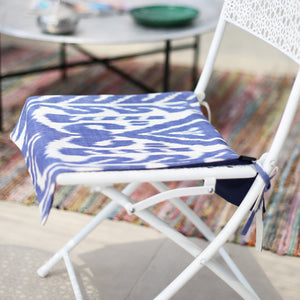 MARINE BLUE AND WHITE IKAT SEAT COVER - Lemiché