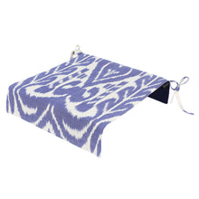 Load image into Gallery viewer, Garden chair ikat seat cover in blue and white