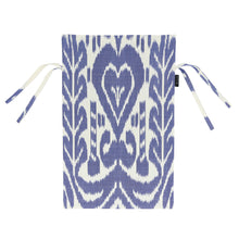 Load image into Gallery viewer, Blue and white chair cover with cotton ikat handmade in Uzbekistan