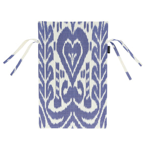 Blue and white chair cover with cotton ikat handmade in Uzbekistan