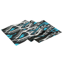 TURQUOISE AND BLACK IKAT TABLE RUNNER