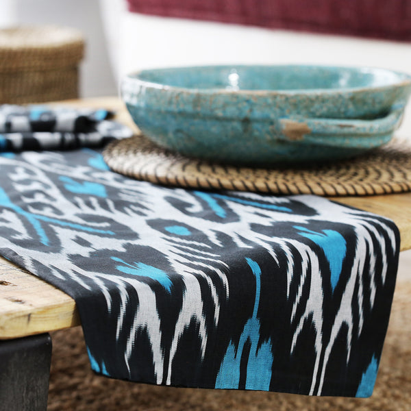 Turquoise and black silver ikat table runner
