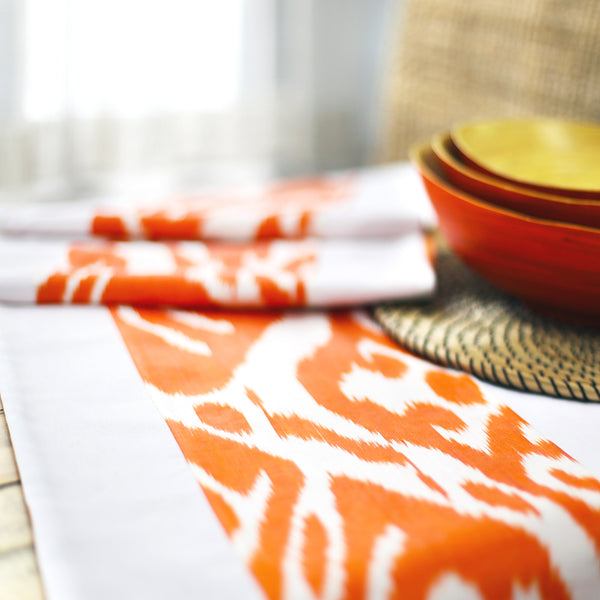 Orange table runner with silk ikat handmade in Uzbekistan
