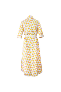 """SIESTA"" WRAP DRESS - YELLOW CRETONE - Lemiché"