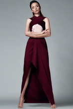 Load image into Gallery viewer, LONG ASYMMETRIC GARNET DRESS - Lemiché