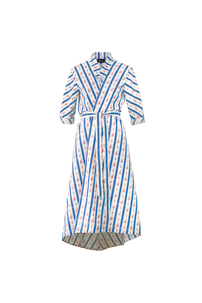 """SIESTA"" WRAP DRESS - BLUE CRETONE - Lemiché"