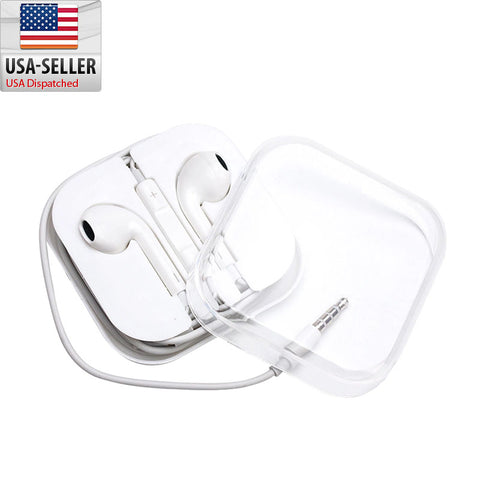 New 3.5mm AUX White Headset Headphones with Mic