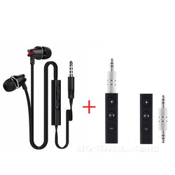 JV23 AUX 3.5mm Earphone With Bluetooth AUX Adapter Bundle