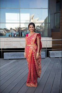 Bride Ashvini dressed in one of The Saree Shop's finest garments