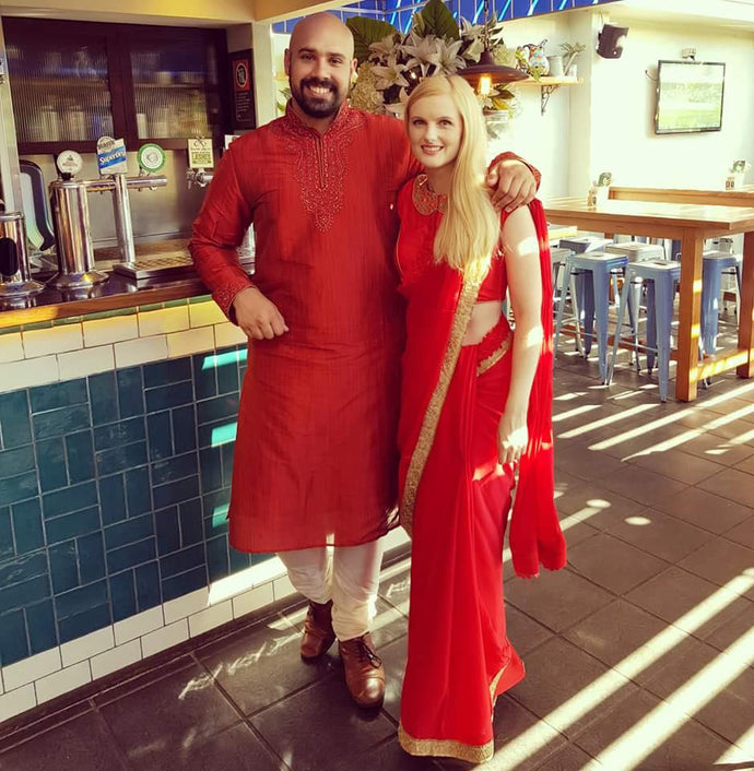 Renee Kinnear and Matt look stunning with THE SAREE SHOP outfit