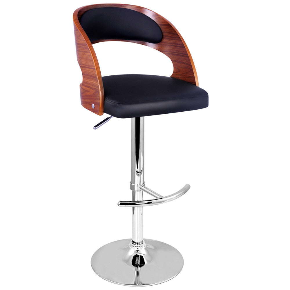 PU Leather Wooden Kitchen Bar Stool Padded Seat Black – Barware Central