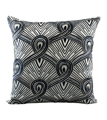 Cushion Spiral Loop Navy on Warm Grey
