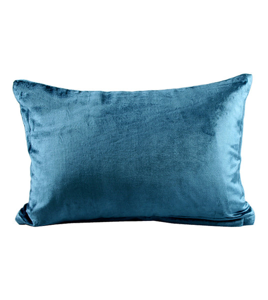Cushion Plain Velvet Knife Edge Teal 30x45cm