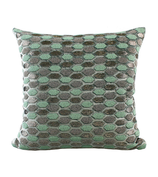 Cushion Velvet Beaded Hexagon Sea Foam 45x45cm
