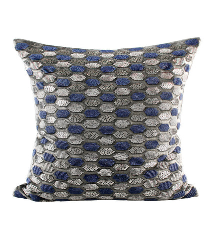 Cushion C.C. Velvet  beaded Hexagon Slate