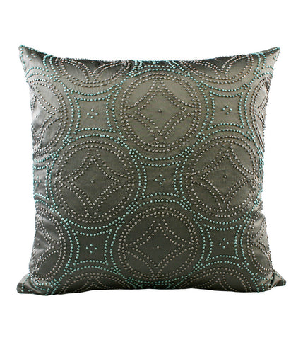 Cushion French Knot Medallion Charcoal
