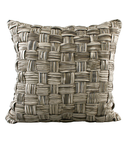 Cushion Velvet 3D Plaid Ribbon Taupe/Oyster