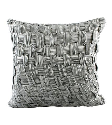 Cushion Velvet 3D Plaid Ribbon Silver/Seafoam