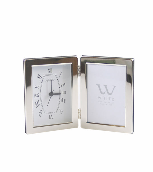 "Silver Plated Clock/Frame Plain 3""x5"""