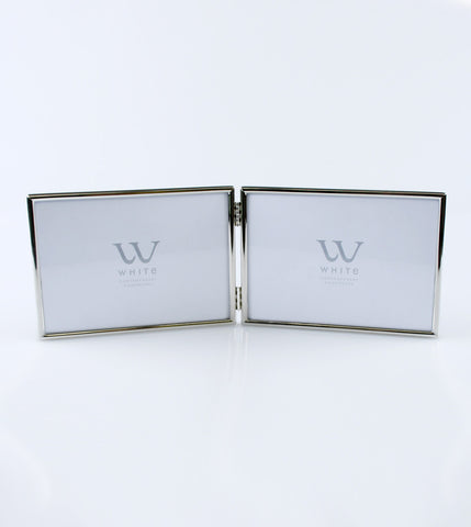 Photo Frame Silver Plated Classic Landscape Double