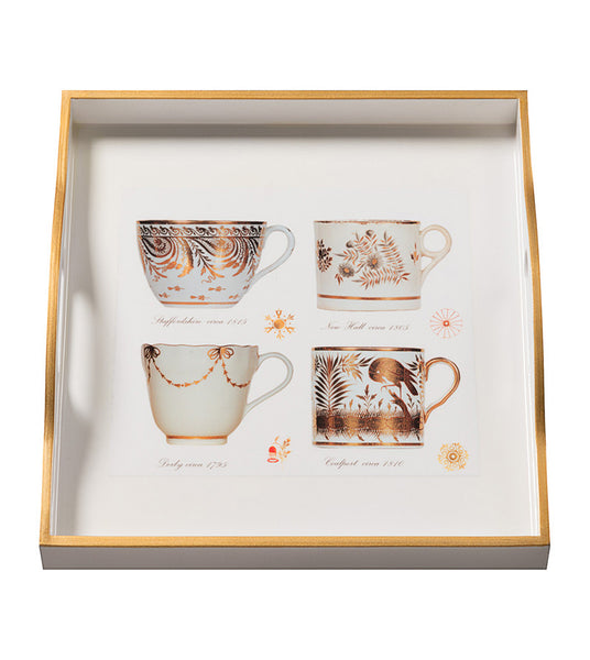 Decoupage Gold Cups Square Tray