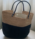 VIKKI Straw Bag Black/Tan