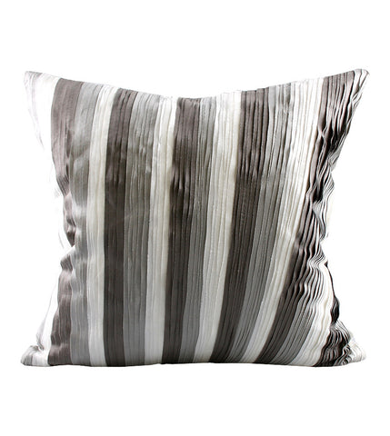 Cushion Silk Diag Ribbon Ecru/Grey 45x45cm