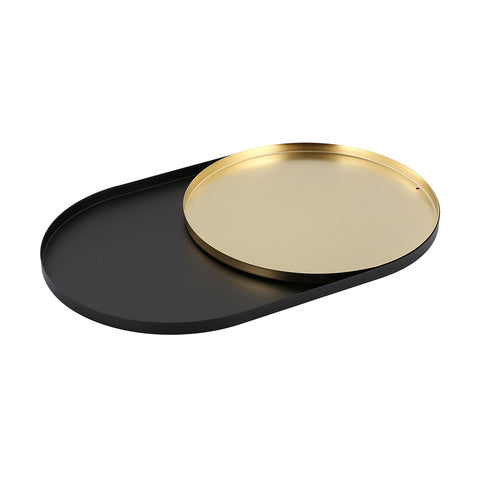 2 Metal Trays Black and Brass Look