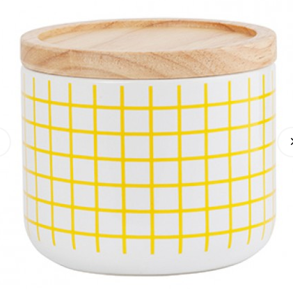 Canister Yellow Grid Small