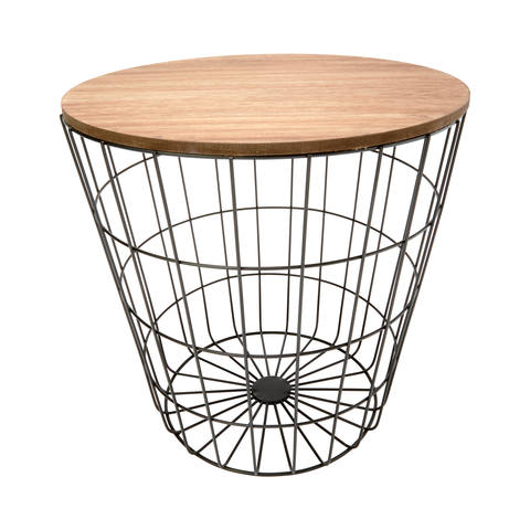 Storage Wire Basket Table - Natural Look & Black