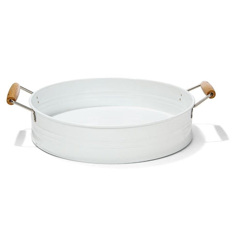 White Metal Tray with Handles