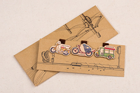 Wooden Magnetic Bookmark - Old Sai Gon vehicles