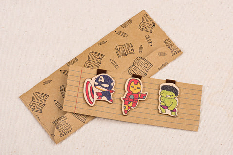 Wooden Magnetic Bookmark - Superman Ironman The Hulk