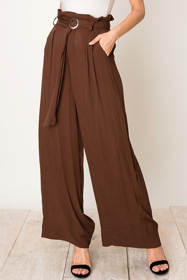 Betsy Paperbag Pant in Brown