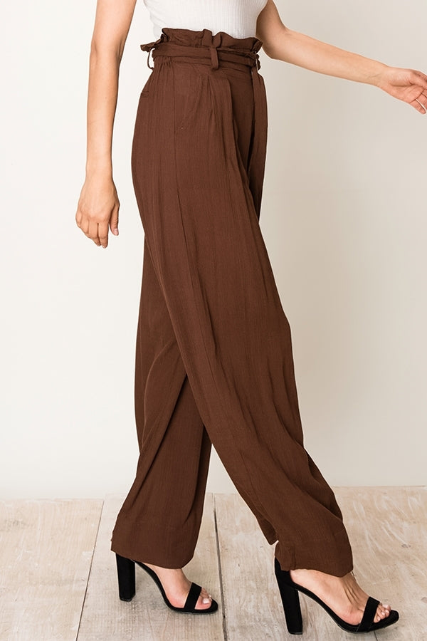 Betsy Paperbag Pant in Brown - Bangle Boulevard