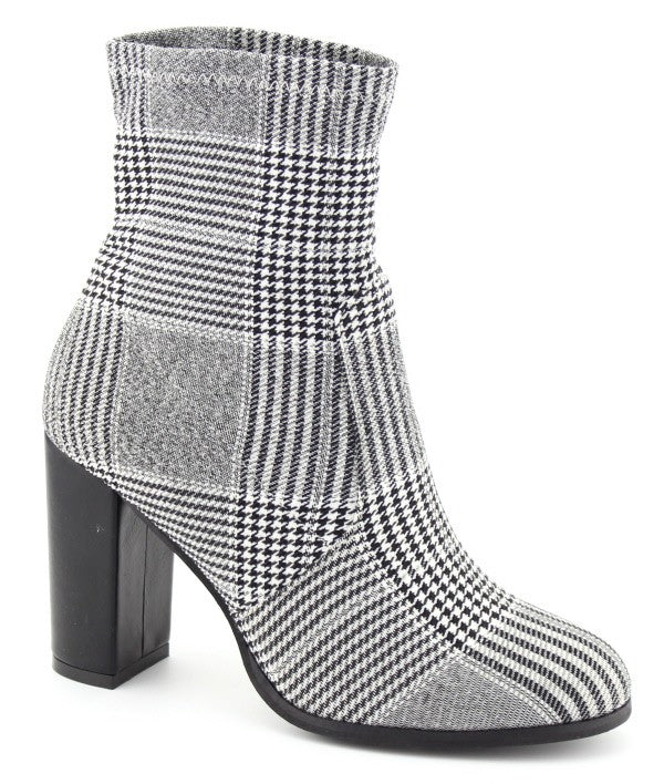 Paris Plaid Sock Bootie