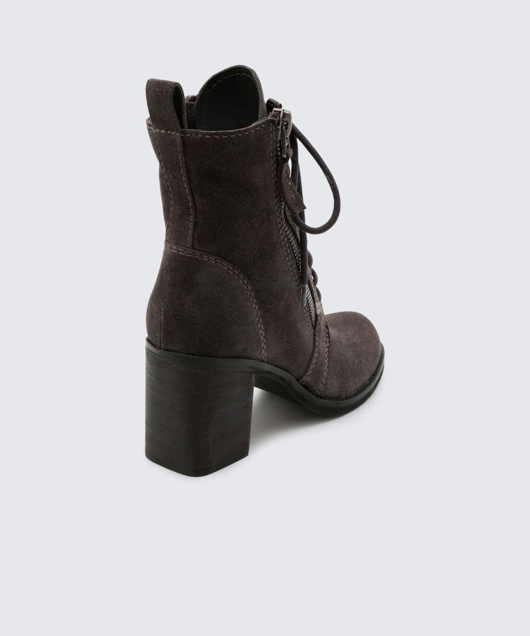 Lela Booties in Anthracite Suede