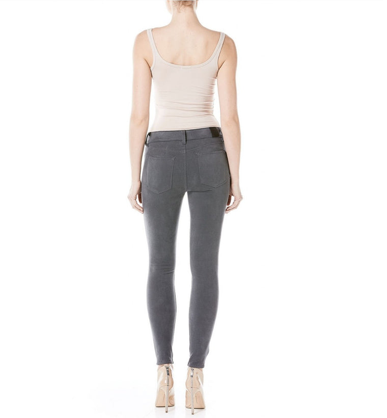 Janice Mid-Rise Ultra Skinny in Suede Earl Grey - Bangle Boulevard