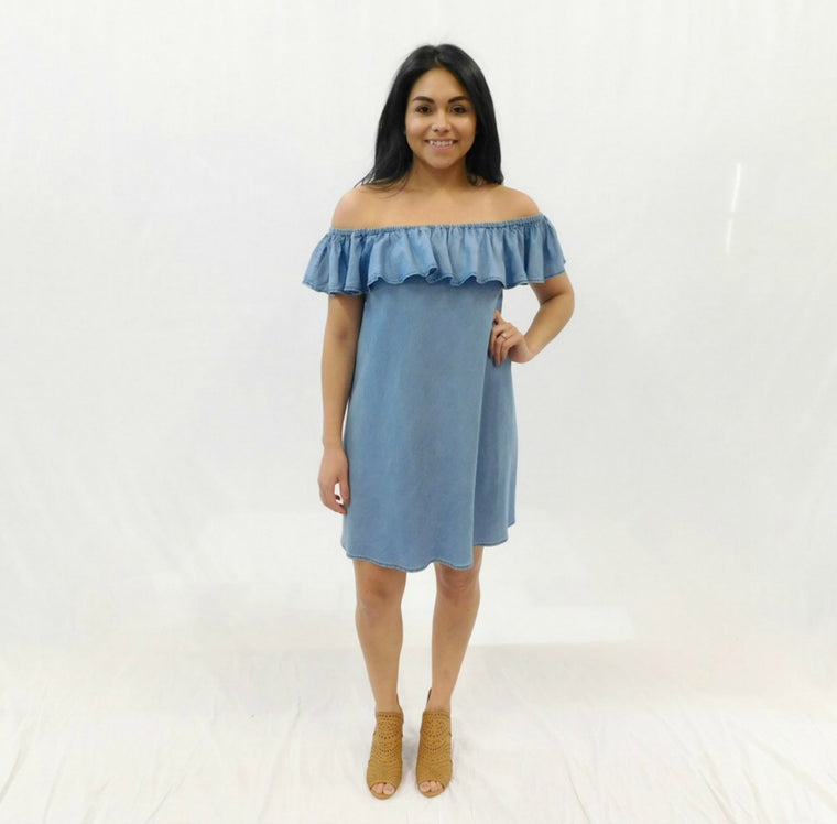 Mali Off the Shoulder Chambray Dress