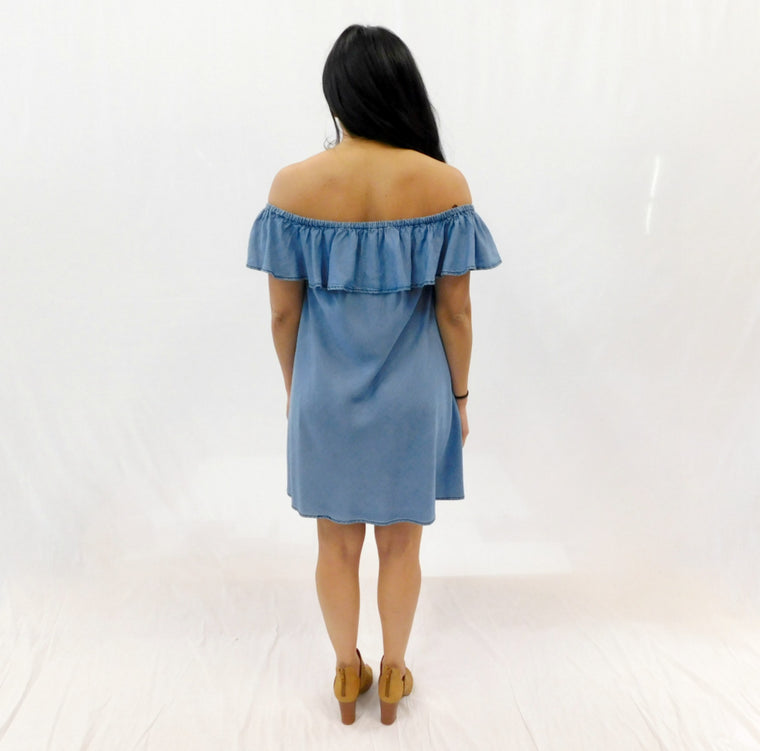 Mali Off the Shoulder Chambray Dress - Bangle Boulevard