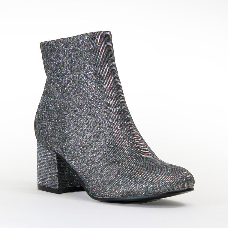 Retro Metallic Black Bootie