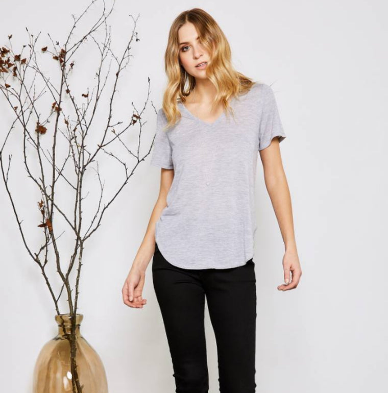 Vanessa Basic Grey V Neck