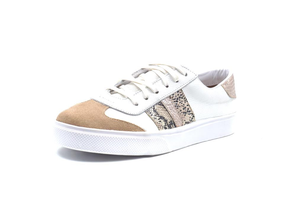 Barbara Blush Snake Sneaker - Bangle Boulevard