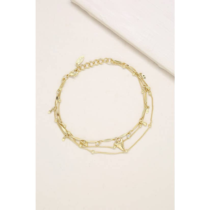 Delicate Chain & Shark Tooth Anklet - Bangle Boulevard