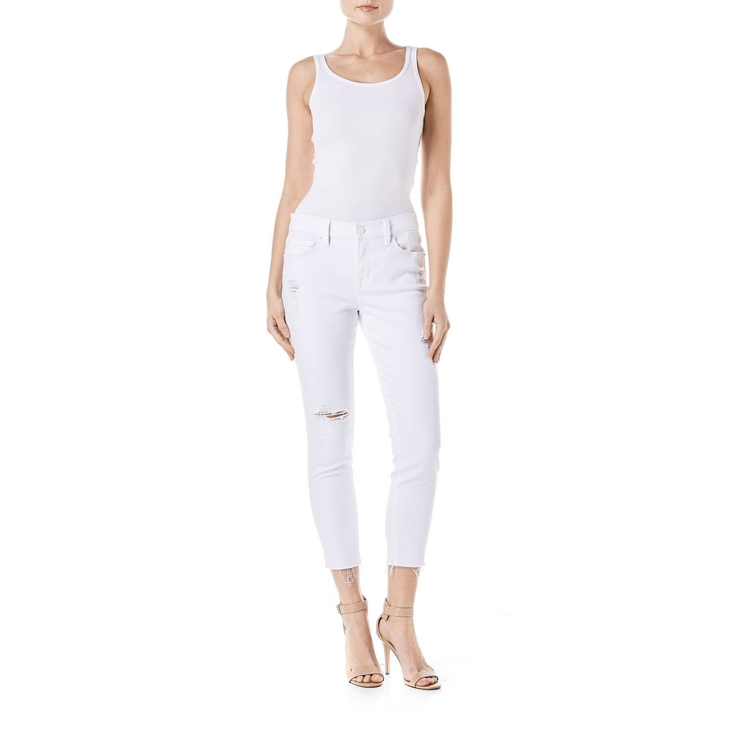 Aubrey Slouchy Skinny Crop in White Rush - Bangle Boulevard