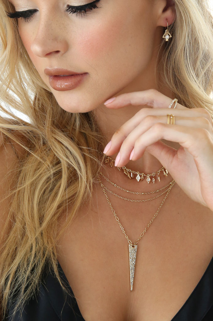 Layered Crystal Spike Necklace - Bangle Boulevard