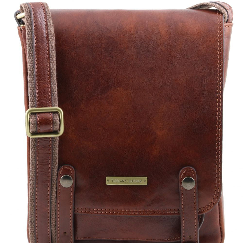 ... Roby - Tuscany Leather - Leather crossbody bag for men with front  straps - Bags For ... 40963895f26db