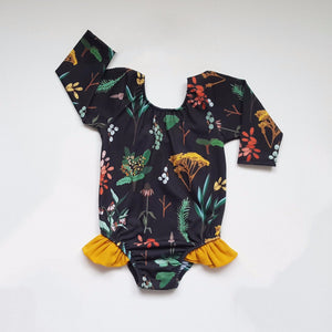 Black herb garden ruffle leotard